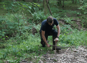 bushcraft week-course - Adam demonstrating fire by friction