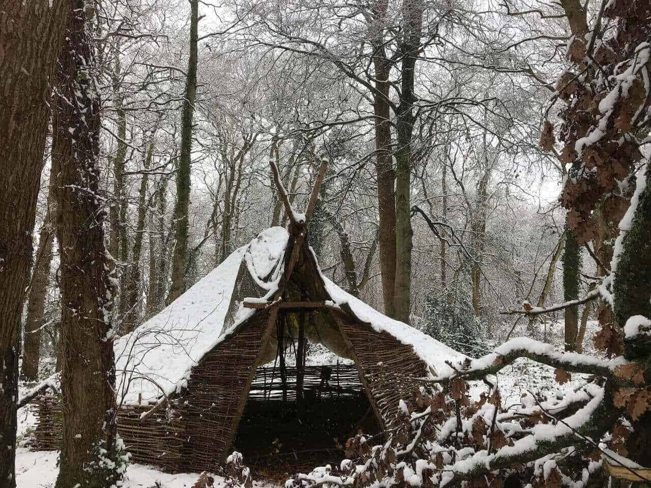 Bushcraft Camp under snow