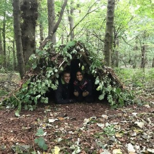 The finished woodland shelter